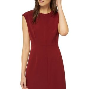 Theory Maroon Fitted Short Sleeve Dress